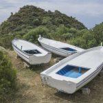 Drei Ruderboote Panarea Italien